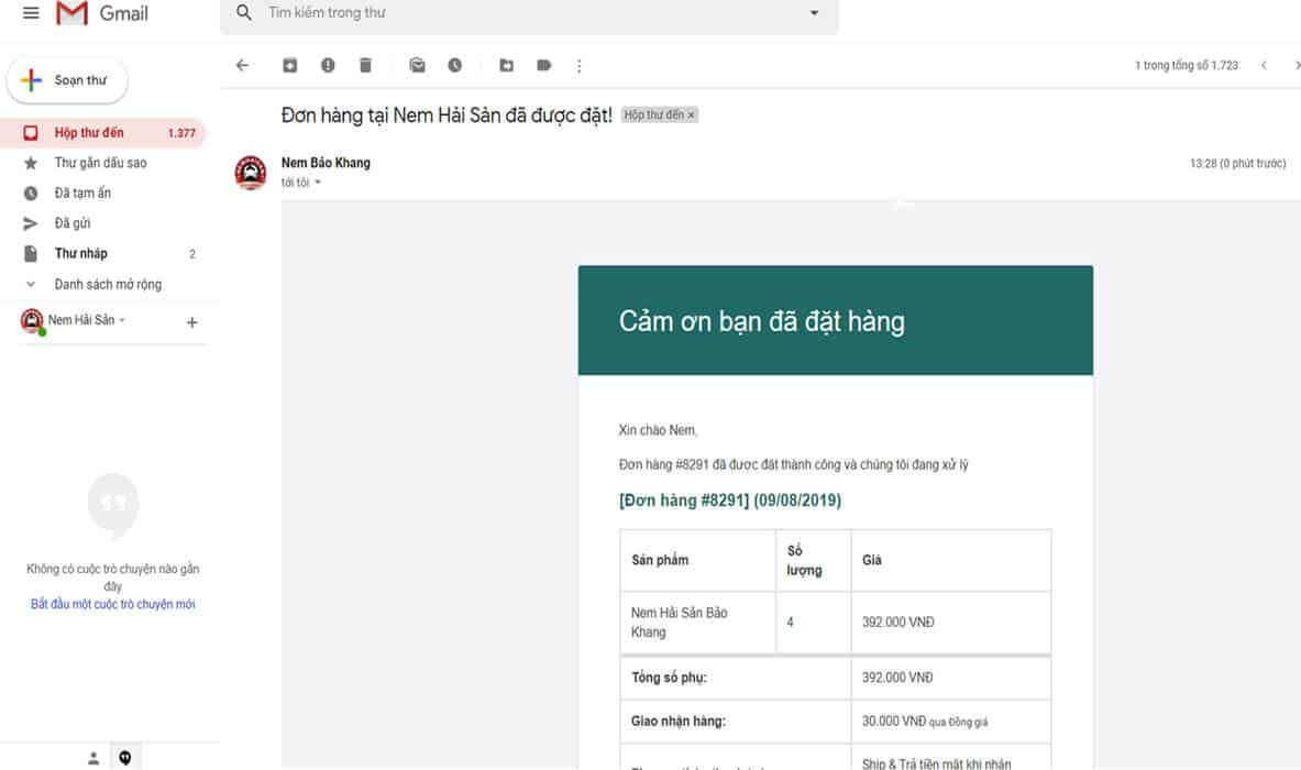 email thông báo cảm ơn quý khách đã đặt hàng